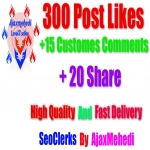Genuine High Quality 300 Post Likes 15 Costume Comments 20 Share
