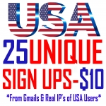 25 Unique Sign Ups from USA