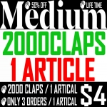 Buy 2000 Medium Claps for 1 Article