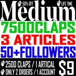 Buy 7,500 Medium Claps on 3 Articles & 50+ Followers.