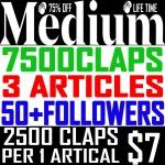 Buy 7,500 Medium Claps on 3 Articles & 50+ Followers.