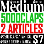 Buy 5000 Medium Claps on 2 Articles 2500Claps/1Article