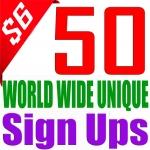 50 Unique World Wide Sign Ups