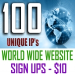 100 Unique World Wide Website Sign Ups