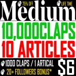 10,000 Medium Claps for 10 Articles Bonus-20 Fol.