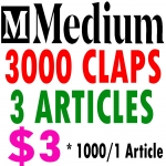 Buy 3000 Medium Claps for 3 Articles - Each One Article Get's 1000 Claps