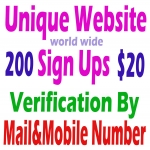 150 World Wide Unique Website Sign Ups by Mobile& Mail Verification