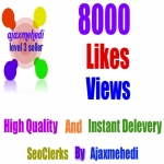 Do Genuine viral 8000 HQ Social Media Photo Post Likes OR 8000 Video views