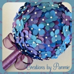 Handmade Paper Bouquet with Pearl Pin Accents